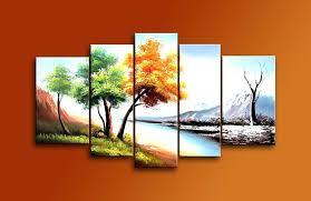 canvas wall art hand painted 5 piece modern landscape oil paintings on canvas wall art 4 canvas wall art