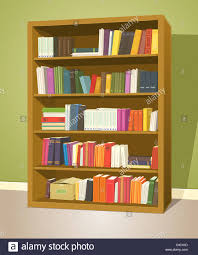 ilration of a cartoon home or wooden bookshelf inside library with books rows