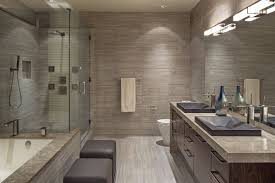 built bathroom vanity design ideas: modern bathroom design ideas with bathrom concrete floor finishes and built in bathtub also two small ottomans facing marble bathroom vanity plus large