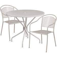 35 25 round light gray indoor outdoor steel patio table set with 2 round back