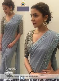 Anushka Sharma Fashion Designer Dreamy Anushka Sharma Gray Color Embroidered Saree
