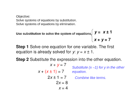 objective solve systems of equations by substitution solve systems of equations by elimination