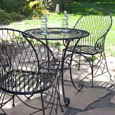 black iron outdoor furniture. 3-Piece Black Metal Patio Furniture Bistro Set With Round Table 2 Armchairs Iron Outdoor