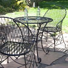 metal bistro set. 3-Piece Black Metal Patio Furniture Bistro Set With Round Table 2 Armchairs A