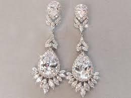 statement bridal earring rhinestone crystal cz bridal earring chandelier crystal drop earring wedding earring bella bride design courtney