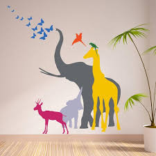 seven safari animal wall stickers on jungle animal wall art with seven safari animal wall stickers the bright blue pig