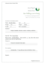 Sick Note Template For Work Free Doctor Notes Sick Note Work Sample