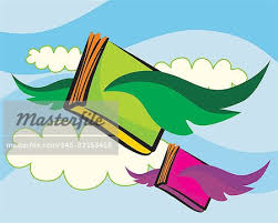 books flying in the cloudy sky stock photo