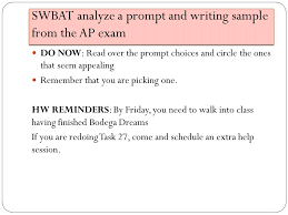 juniors essay planning swbat analyze a prompt and writing sample  2 swbat