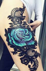 An Amazing Thigh Piece Blue Rose And Lace Tattoo Pinterest