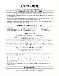 Resume For Retail Sales Sample Resume For A Retail Sales Clerk