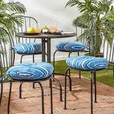 C 18inch Outdoor Round Coastal Stripe Bistro Chair Cushion Set Of 4