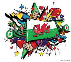 wales welsh cymru flag jack graffiti pop art graff street art cardiff rugby banner standard ensign