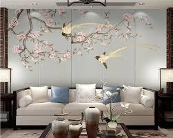 Custom White Magnolia Flower Bird <b>Hand Painted Wallpaper</b> New ...