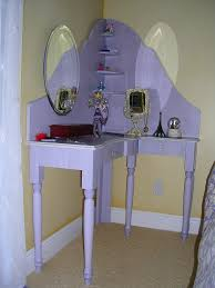 bedroom vanity corner makeup with drawers ideas ingenious idea of sectional table plus floating shelves also