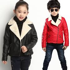 2018 winter children outerwear warm coat kids jacket pu leather girls black red fashion toddler boys