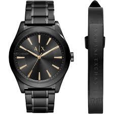 "mens designer label watches watch shop comâ""¢ mens armani exchange leather bracelet gift set watch ax7102"
