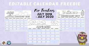 Editable 2015 2020 Calendar Editable Teacher Calendars 2018 Thru July 2020 Free Wise