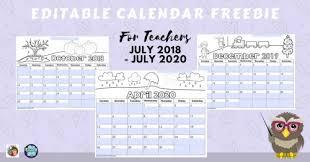 2020 Calendar Editable Editable Teacher Calendars 2018 Thru July 2020 Free Wise