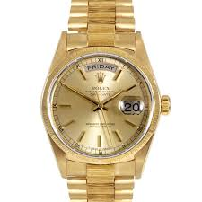 mens used day date presidents rolex watches for swiss wrist pre owned rolex mens yellow gold day date president watch champagne stick dial