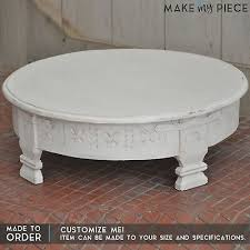 details about made to order tribal carved chakki grinder round small coffee table top white
