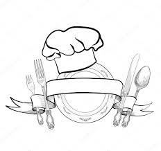 Toque De Cuisinier Avec Fourchette Cuill Re Couteau Et Plaque Logo Dessin Restaurant Cuisinier Toque L