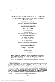 the academic motivation scale a measure of intrinsic extrinsic  the academic motivation scale a measure of intrinsic extrinsic and amotivation in education pdf available