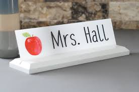 acrylic teacher desk name plate with wood plaque personalized professional wood sign gift 10 x 2 5