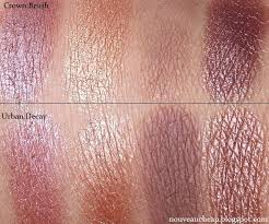 review crown brush over exposed palette with a parison to urban decay 3 nouveau makeup swatches