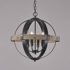 vintage style rustic artcraft wooden 4 light 6 light globe shaped wrought iron chandelier in black