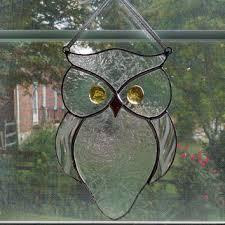 stained glass owl suncatcher bird window decor garden a