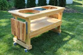 custom big green egg double table from cypress