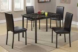 brown metal dining table and chair set