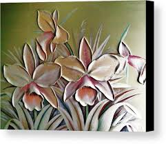 pink canvas print featuring the mixed a large 3d flowers by unique consignment