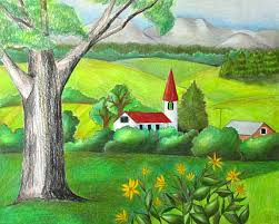 Small Picture Color Pencil Landscape Drawing Happy Family Art