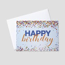 Happy Birthday Business Card B1701 Colorful Confetti