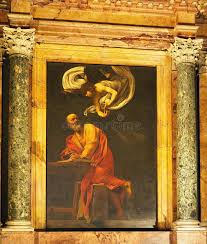 caravaggio painting the church of st louis of the french rome