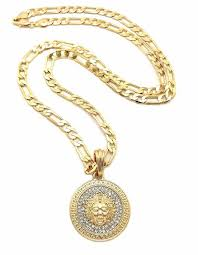 details about new 14kt gp versace style medusa face head pendant 5mm 24 figaro chain necklac