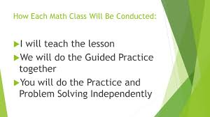 practice and problem solving independently how each math class will be conducted