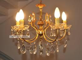 Antiker Jugendstil Kristall Kronleuchter Lüster Lampe 5 Flam