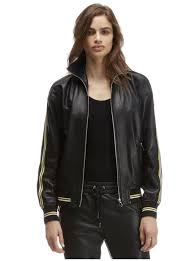 leather er jacket with contrasted bands