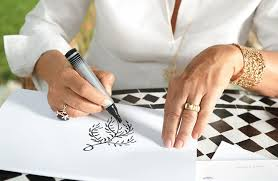 tiffanypalomapicassomorocco1 paloma picasso sketching one of her olive leaf designs for tiffany