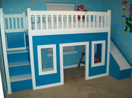kids loft bed with slide. Playhouse Loft Bed With Stairs And Slide Kids H