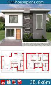 House Plans 8x6m with 3 Bedrooms - Sam House Plans | Model house plan,  Duplex house plans, Small house design plans