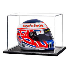 half scale crash helmet acrylic display case with wooden base choice of base colours