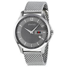 gucci g timeless anthracite dial mesh bracelet mens watch ya126301 zoom