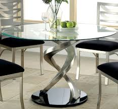 Round Glass Top Dining Table Swirling Pedestal Silver Satin Finish Metal  Base