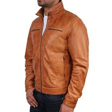 men s tan leather biker jacket monaco