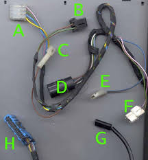 cables for connecting the electric and electronic parts together it consists of the following connectors letters correspond to plugs on picture