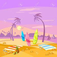summer holiday sunset beach scene vector cartoon stock vector 60485745